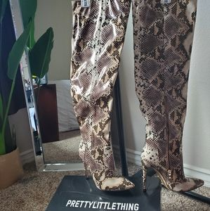 Prettylittlething Knee High Boots Snake Skin NWT